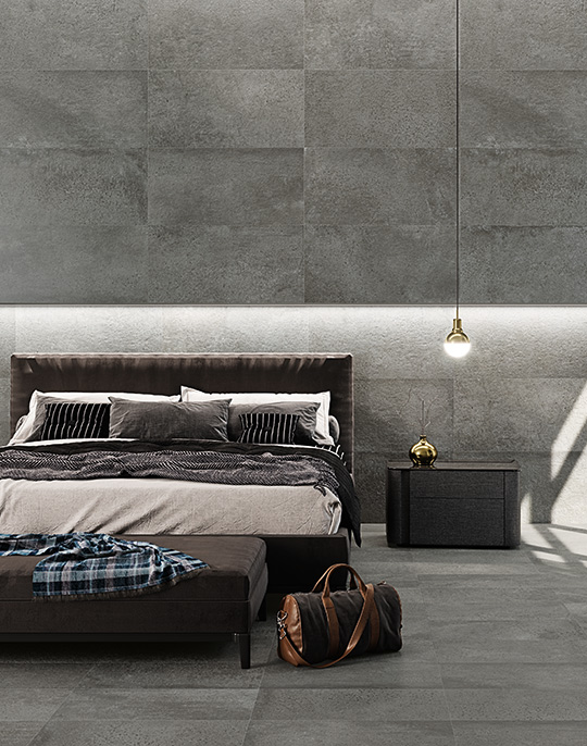 Discovery 45x90. Large format semi-polished limestone look porcelain tiles. View collection.