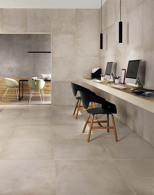Dwell 45x90. Large format washed concrete look architectural porcelain tiles. View collection