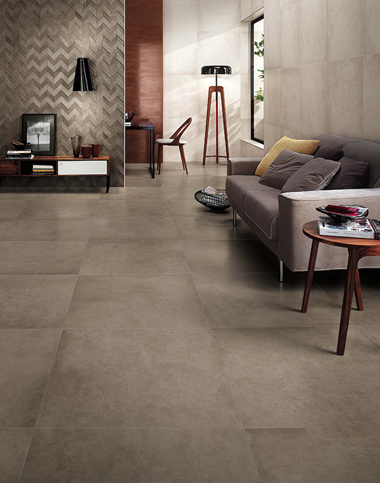 Dwell 45x90. Extra large format washed concrete look wall and floor porcelain tiles. View collection.