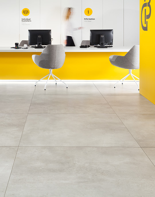Epoxy 120x120. Extra large format washed concrete look polished and matt finish 6mm porcelain tiles. View collection.