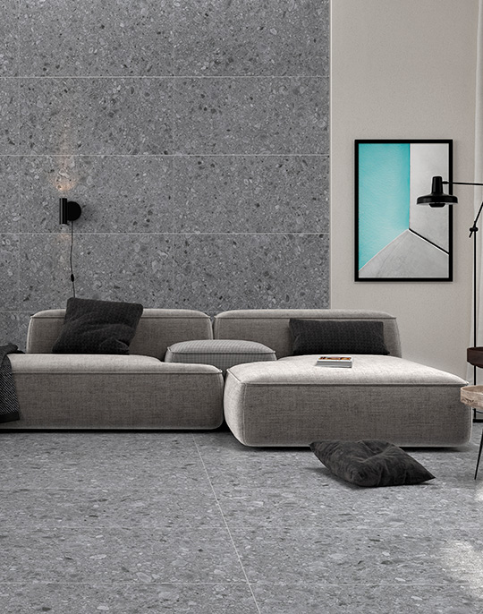 Flodsten 30x60. Stone look architectural porcelain floor tiles with R10 slip rating. View collection