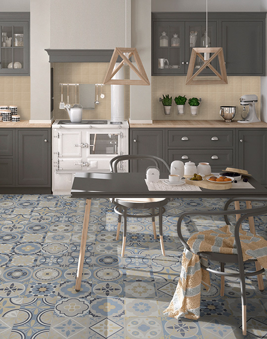 Frame 20x20. Retro style patterned floor tiles. View collection.