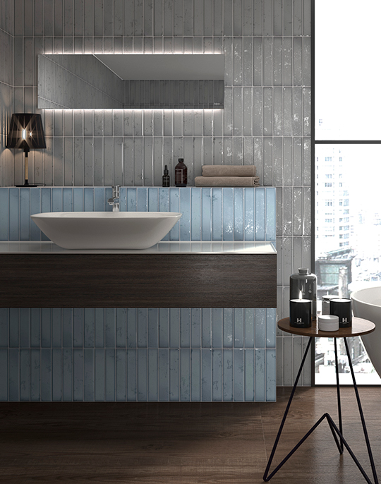 Frost 5x25. Opaque surface finish cold effect wall tiles. View collection.