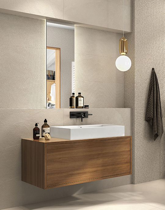 Hardy - stone look 3D effect bathroom wall tiles collection. View collection