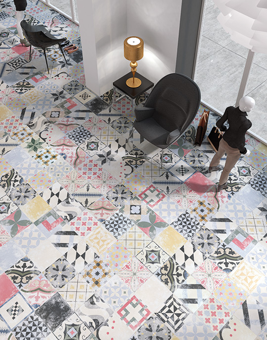 Heritage 25x25. Vintage style patterned floor tiles. View collection.