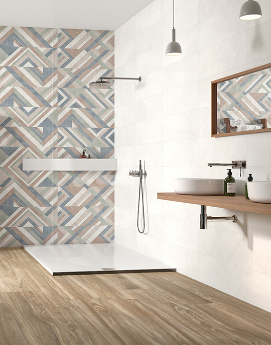 Impulse monocolour bathroom wall tiles with patterned floor. View collection.