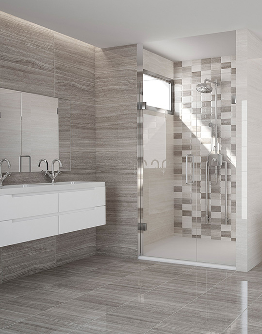 Marmara. Stone look high gloss wall and floor bathroom tiles. View collection.