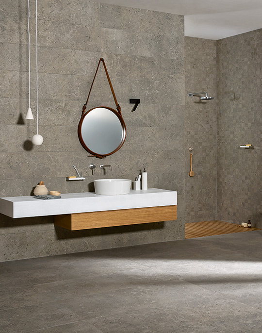 Mystone Gris Fleury 60x60. Stone look porcelain wall and floor tiles. View collection.