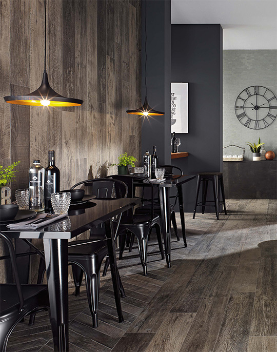 Nash 18.5x150. Aged oak effect porcelain wall and floor tiles. View collection.