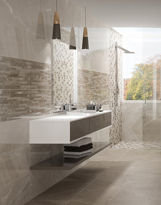 New Age 30x60 / 31.6x100 / 44.5x44.5. Stone look bathroom wall and floor tiles. View collection.