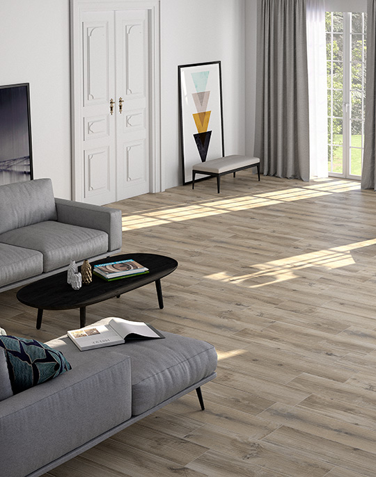 Norden 22x84. Natural wood look porcelain floor tiles for Nordic style interiors. View collection.