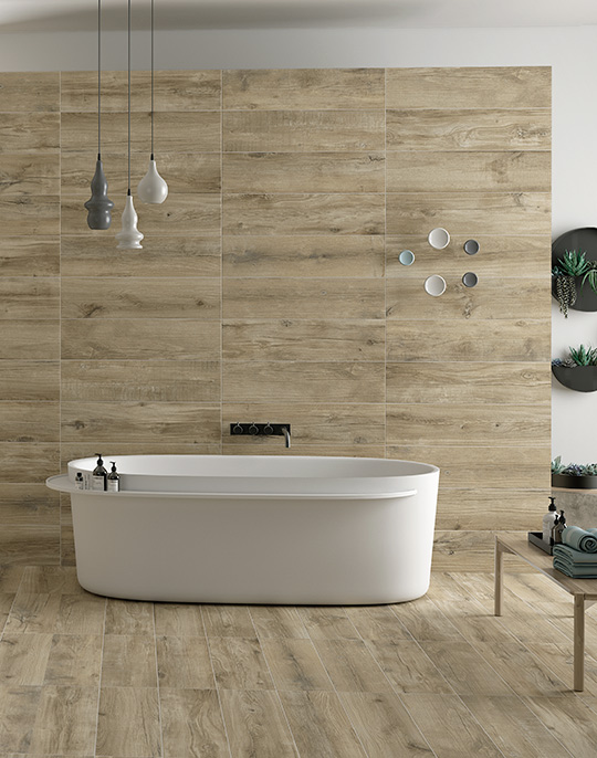 Norden 22x84. Natural wood look porcelain wall and floor tiles for Nordic style interiors. View collection.