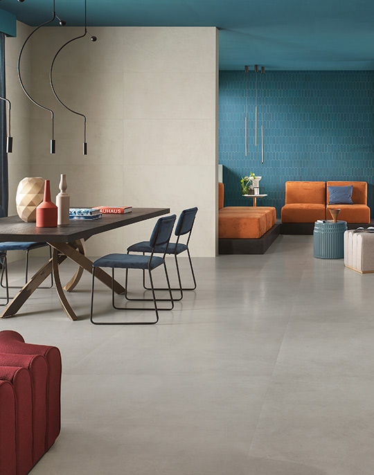 Prism 50x120. Extra large format concrete effect wall and floor porcelain tiles for residential and commercial spaces.