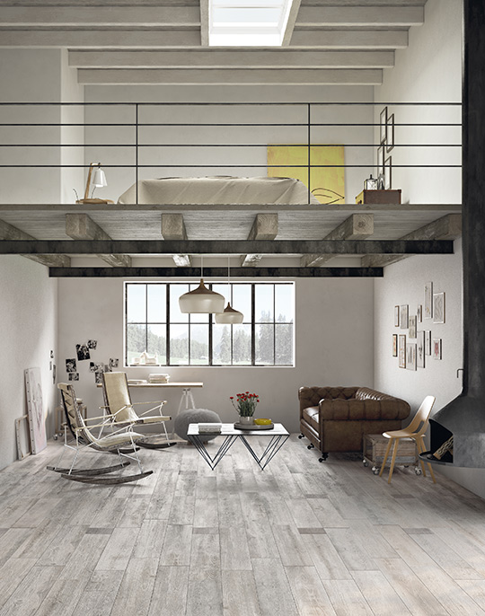 Sherwood 20x160. Extra long plank rustic wood look porcelain floor tiles. View collection.