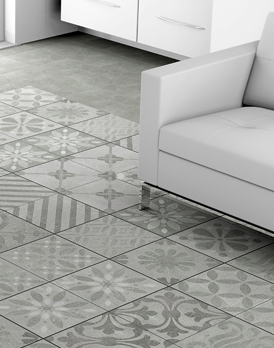 Signum 25x25. Stone look patterned floor tiles. View collection.